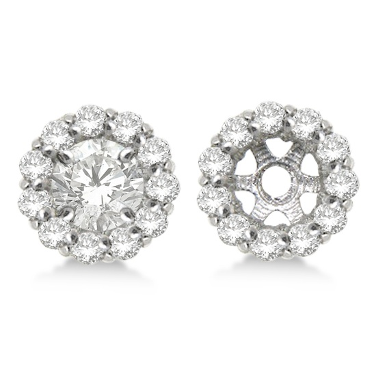 Round Diamond Earring Jackets for 5mm Studs 14K White Gold (0.77Ct)
