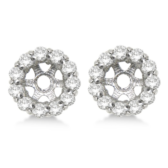 Round Diamond Earring Jackets for 6mm Studs 14K White Gold (0.80ct)