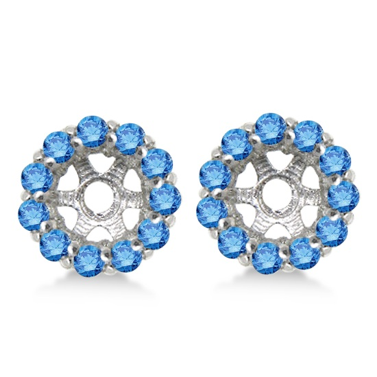 Round Blue Diamond Earring Jackets for 6mm Studs 14K White Gold (0.80ct)