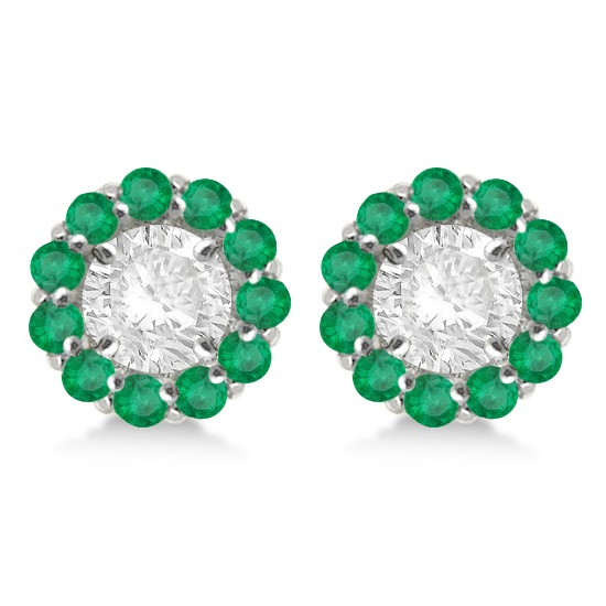 Round Emerald Earring Jackets for 5mm Studs 14K White Gold (1.08ct)