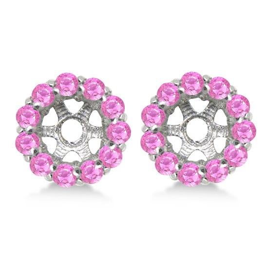 Round Pink Sapphire Earring Jackets 7mm Studs 14K White Gold (1.32ct)