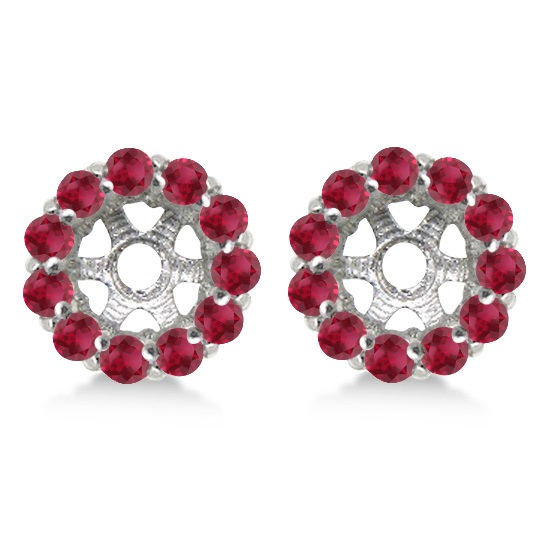 Round Ruby Earring Jackets for 4mm Studs 14K White Gold (0.96ct)
