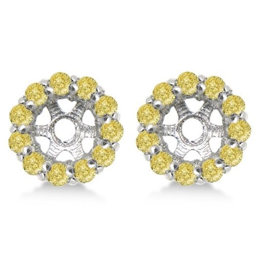 Round Yellow Diamond Earring Jackets for 4mm Studs 14K W. Gold (0.64ct)