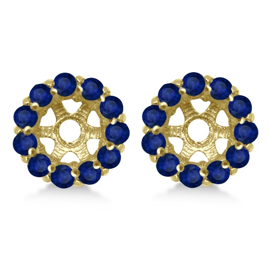 Round Blue Sapphire Earring Jackets 7mm Studs 14K Yellow Gold (1.32ct)