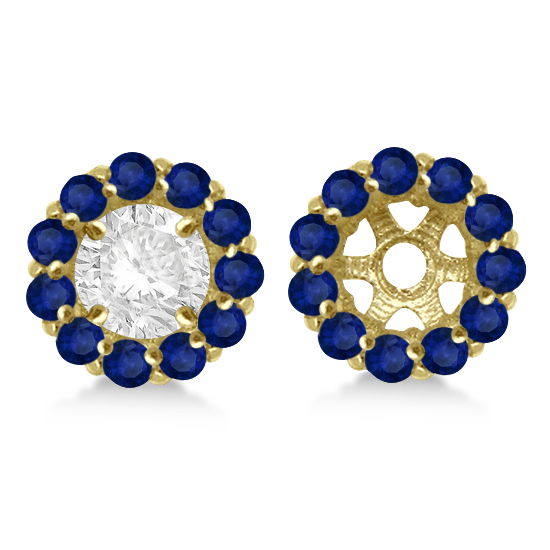 Round Blue Sapphire Earring Jackets 8mm Studs 14K Yellow Gold (1.44ct)
