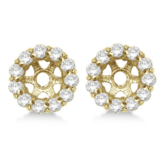 Round Diamond Earring Jackets for 4mm Studs 14K Yellow Gold (0.64ct)