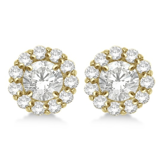 Round Diamond Earring Jackets for 5mm Studs 14K Yellow Gold (0.77ct)