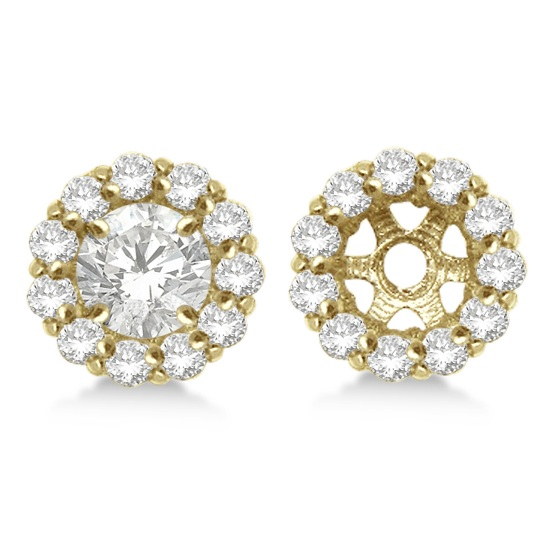 Round Diamond Earring Jackets for 8mm Studs 14K Yellow Gold (1.00ct)