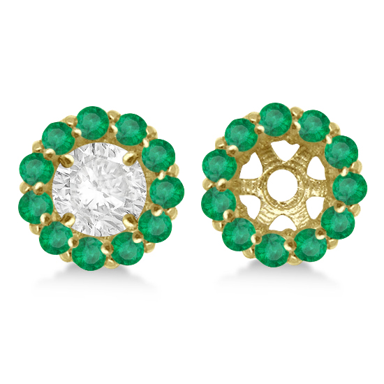 Round Emerald Earring Jackets for 7mm Studs 14K Yellow Gold (1.32ct)