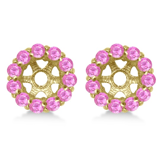 Round Pink Sapphire Earring Jackets 5mm Studs 14K Yellow Gold (1.08ct)
