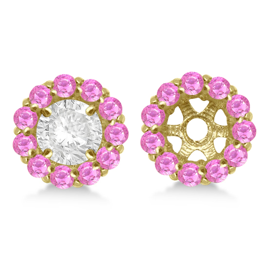 Round Pink Sapphire Earring Jackets 7mm Studs 14K Yellow Gold (1.32ct)