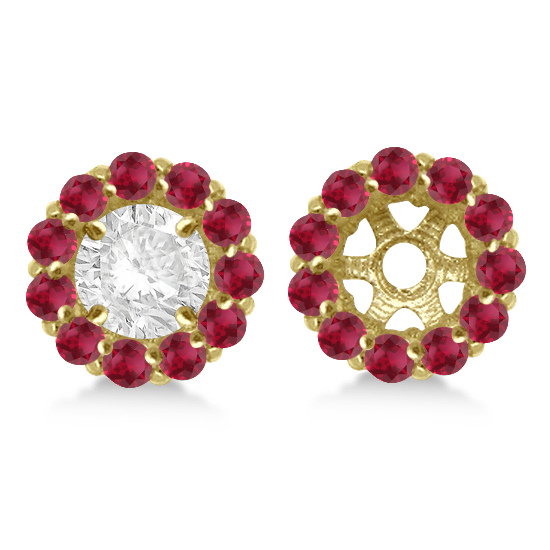 Round Ruby Earring Jackets for 4mm Studs 14K Yellow Gold (0.96ct)