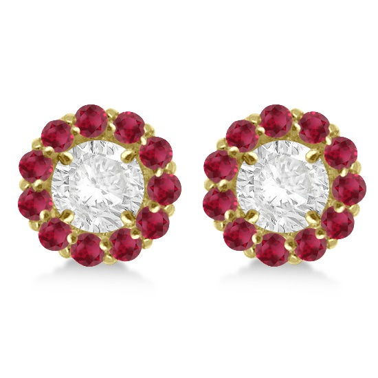 Round Ruby Earring Jackets for 5mm Studs 14K Yellow Gold (1.08ct)