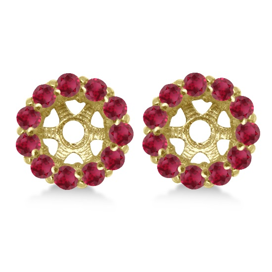 Round Ruby Earring Jackets for 6mm Studs 14K Yellow Gold (1.20ct)