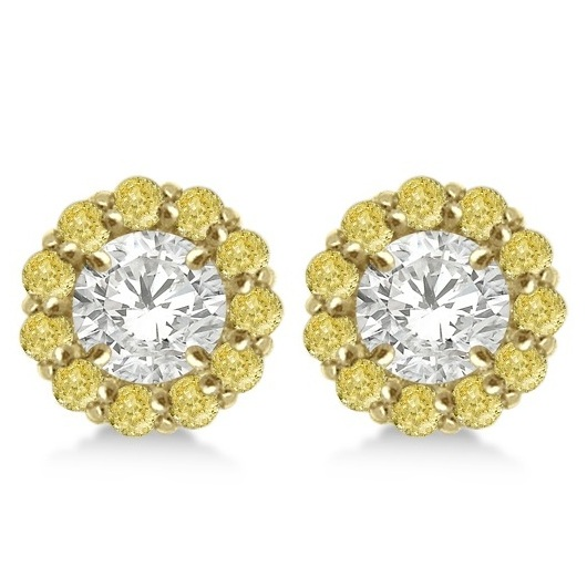 Round Yellow Diamond Earring Jackets for 8mm Studs 14K Y. Gold (1.00ct)