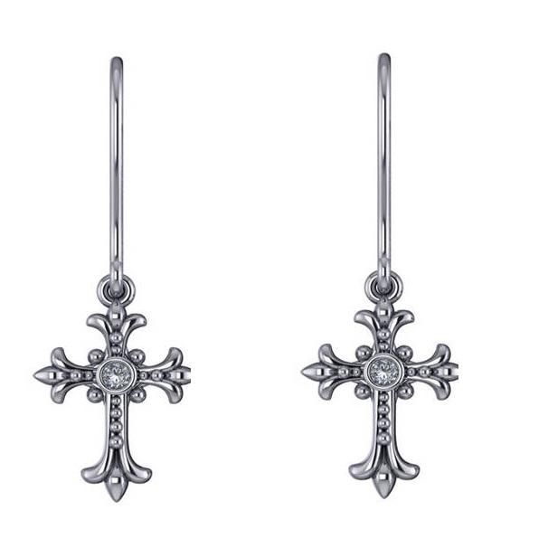 Diamond Gothic Cross Bezel Set Earrings 14k White Gold (0.06ct)