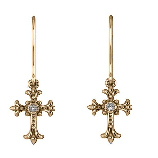 Diamond Gothic Cross Bezel Set Earrings 14k Yellow Gold (0.06ct)