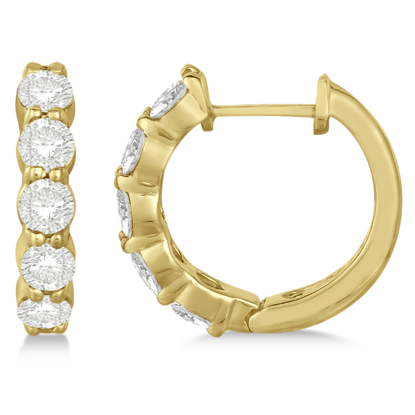 Hinged Hoop Diamond Huggie Style Earrings in 14k Yellow Gold (1.51ct)