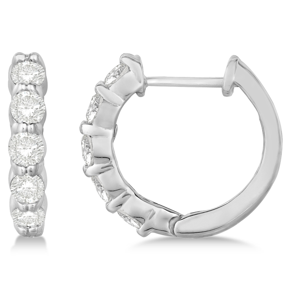 Hinged Hoop Diamond Huggie Style Earrings in 14k White Gold (1.00ct)