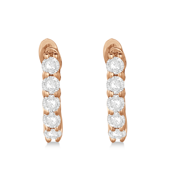 Hinged Hoop Diamond Huggie Style Earrings in 14k Rose Gold (0.25ct)
