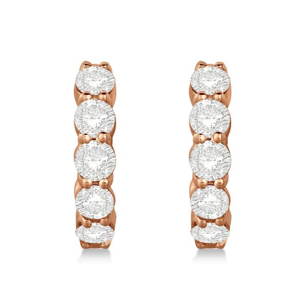 Hinged Hoop Diamond Huggie Style Earrings in 14k Rose Gold (2.00ct)