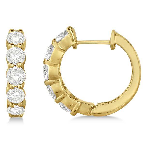 Hinged Hoop Diamond Huggie Style Earrings in 14k Yellow Gold (2.00ct)