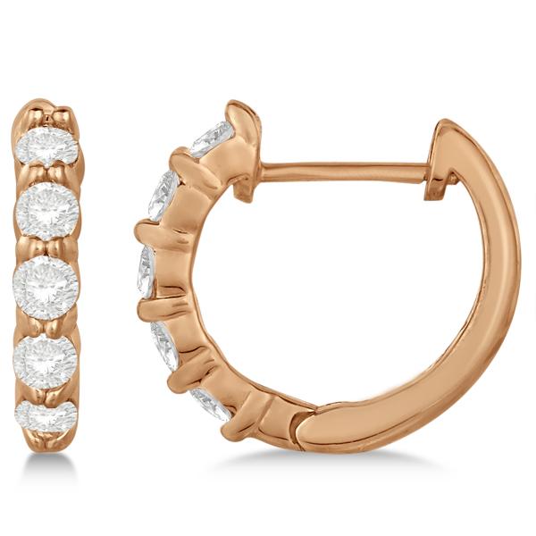 Hinged Hoop Diamond Huggie Style Earrings in 14k Rose Gold (0.50ct)