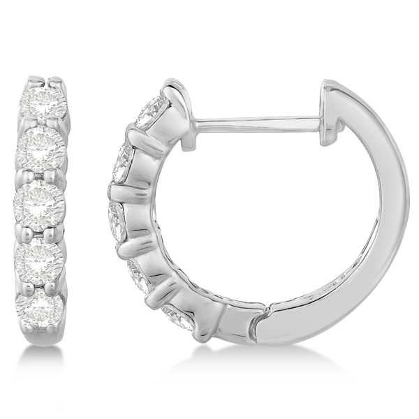 Hinged Hoop Diamond Huggie Style Earrings in 14k White Gold (0.75ct)