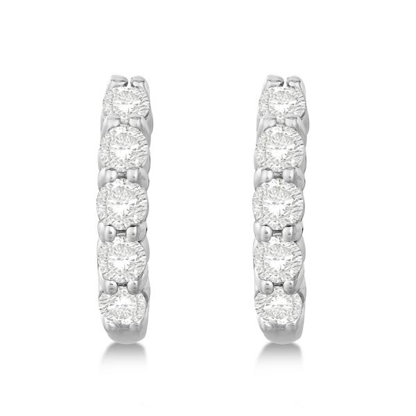 Hinged Hoop Diamond Huggie Style Earrings in 14k White Gold (0.75ct)