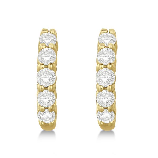 Hinged Hoop Diamond Huggie Style Earrings in 14k Yellow Gold (0.75ct)