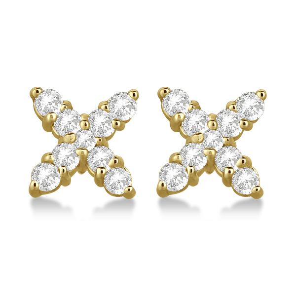 Diamond Studs X Earrings Push Backs in 14k Yellow Gold (0.75 ct)