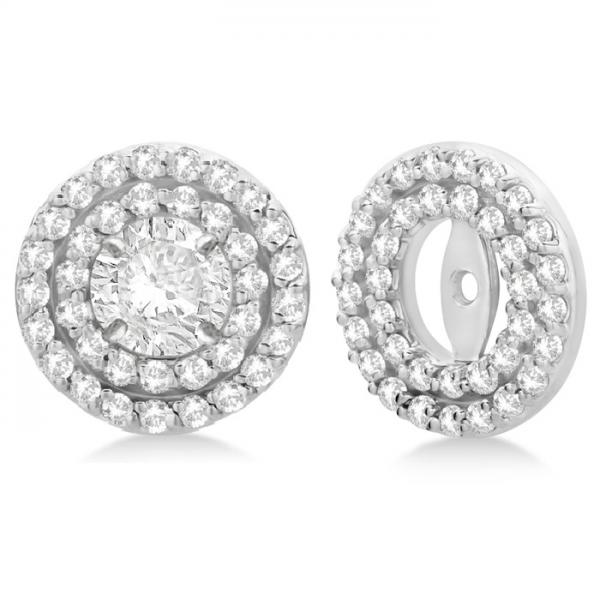 Double Halo Diamond Earring Jackets for 6mm Studs 14k White Gold (0.66ct)