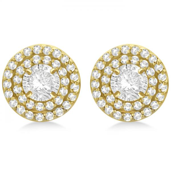 Double Halo Diamond Earring Jackets for 4mm Studs 14k Yellow Gold (0.52ct)