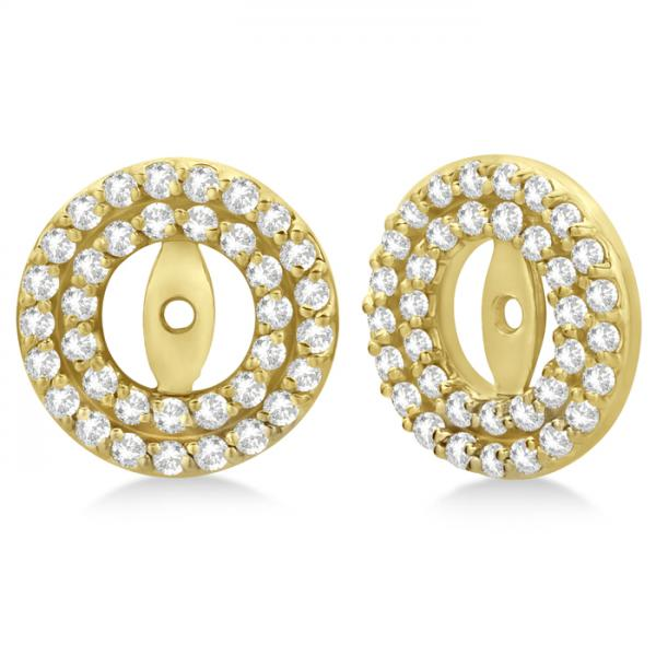 Double Halo Diamond Earring Jackets for 5mm Studs 14k Yellow Gold (0.60ct)