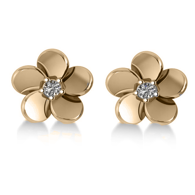 Diamond Flower Blossom Stud Earrings 14k Yellow Gold (0.06ct)