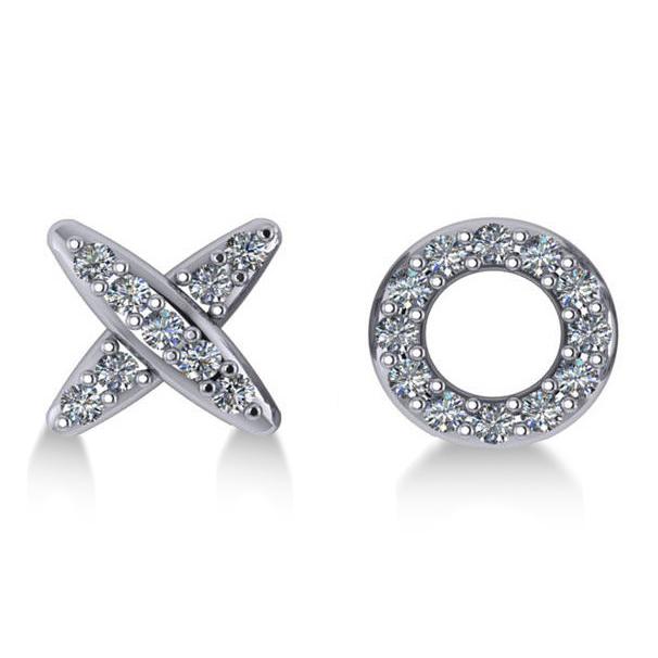 Diamond Mismatched XO Stud Earrings 14k White Gold (0.21ct)