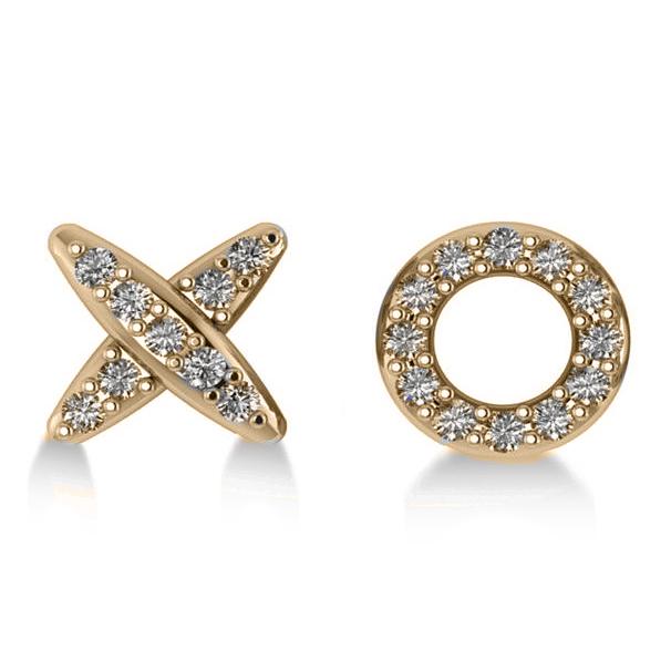 Diamond Mismatched XO Stud Earrings 14k Yellow Gold (0.21ct)