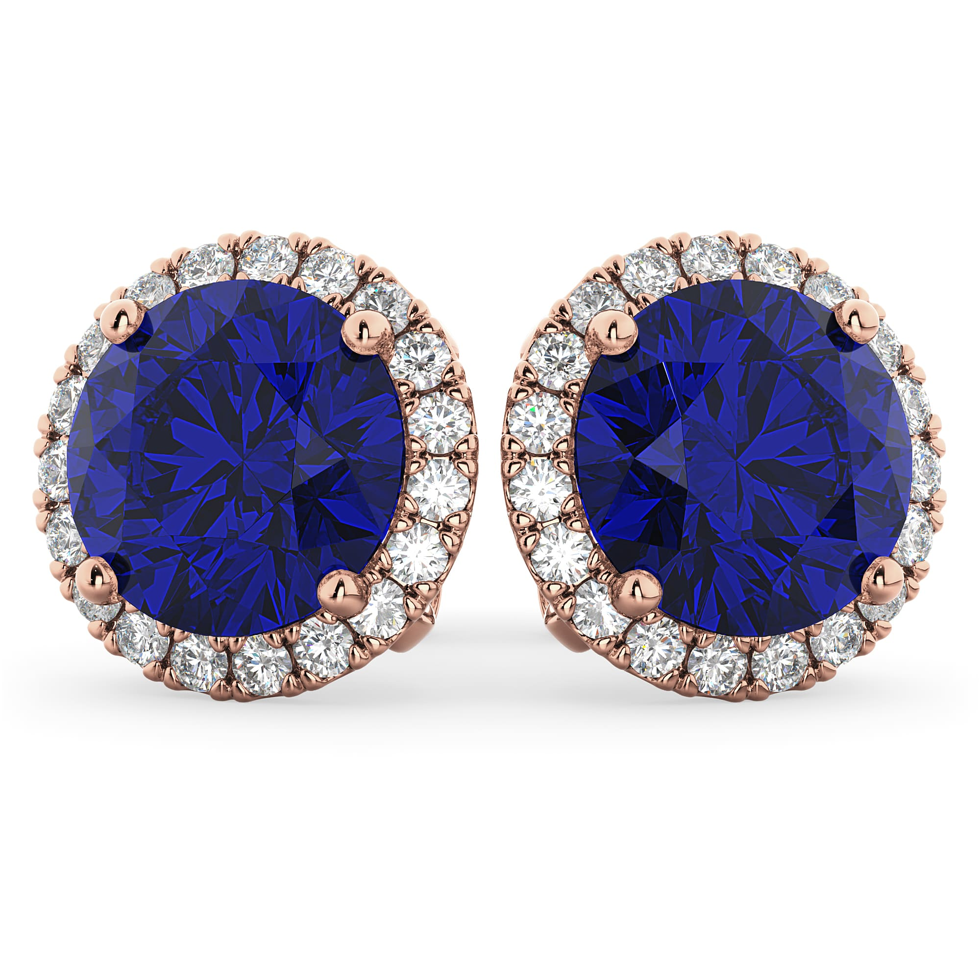Halo Round Blue Sapphire & Diamond Earrings 14k Rose Gold 5 17 ct