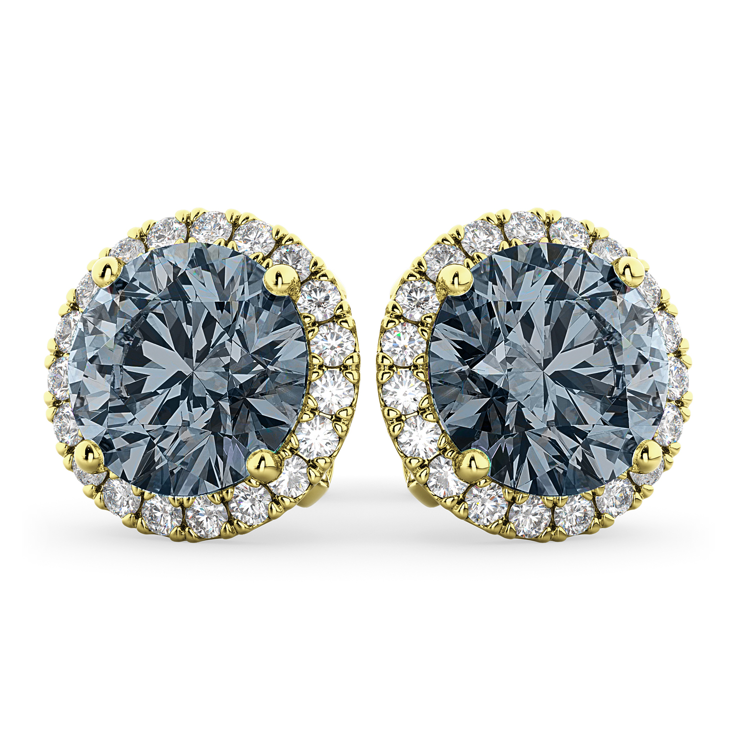 Halo Round Gray Spinel & Diamond Earrings 14k Yellow Gold (4.17ct)