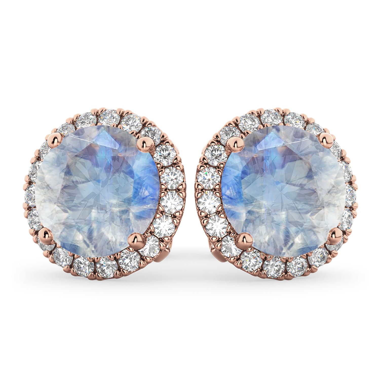 Halo Round Moonstone & Diamond Earrings 14k Rose Gold (5.57ct)