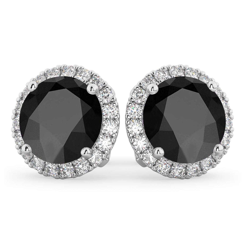 Halo Round Onyx & Diamond Earrings 14k White Gold (5.57ct)