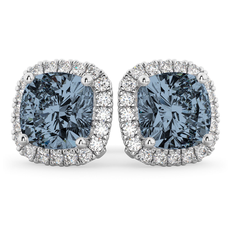 Halo Cushion Gray Spinel & Diamond Earrings 14k White Gold (4.04ct)
