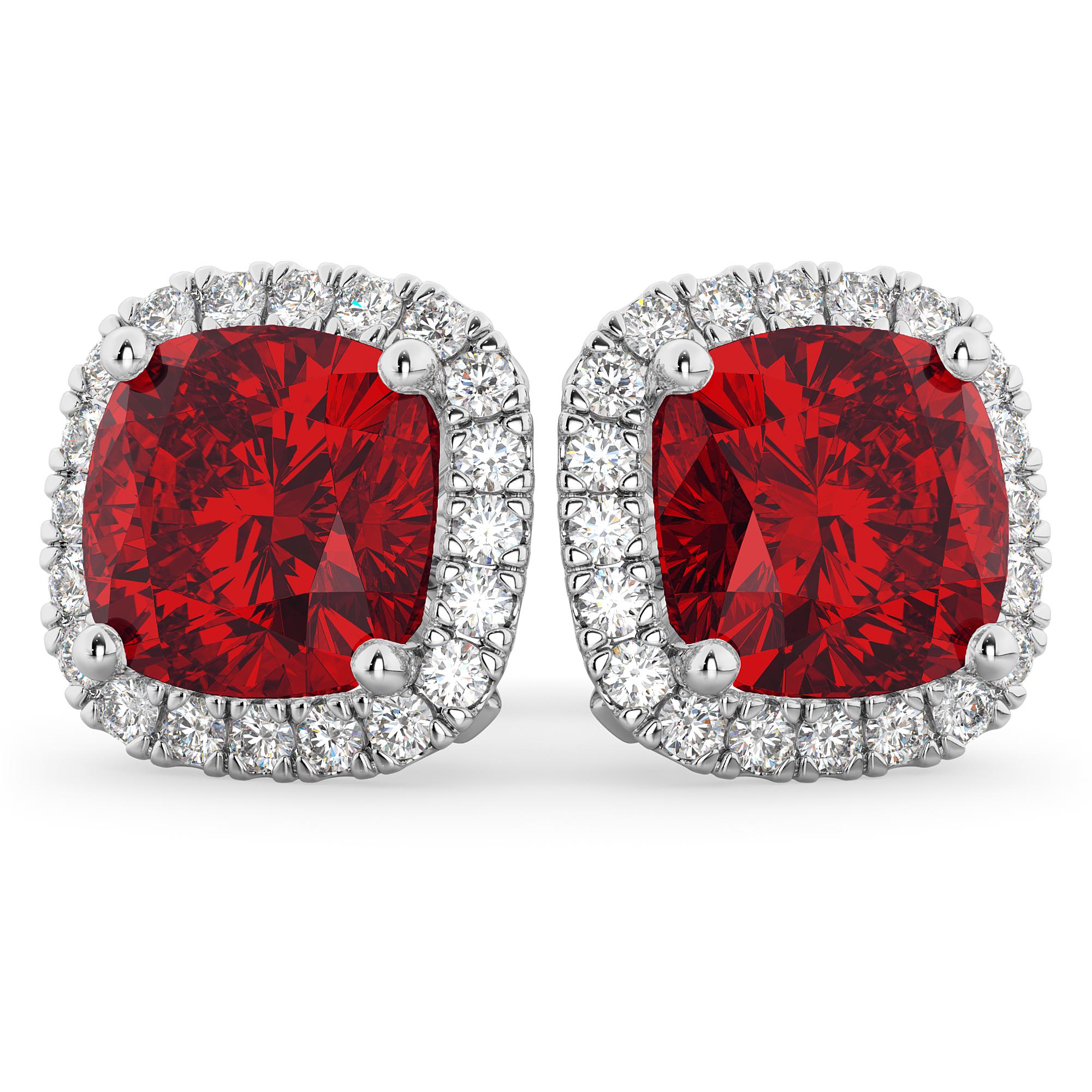 Halo Cushion Ruby & Diamond Earrings 14k White Gold (4.04ct)