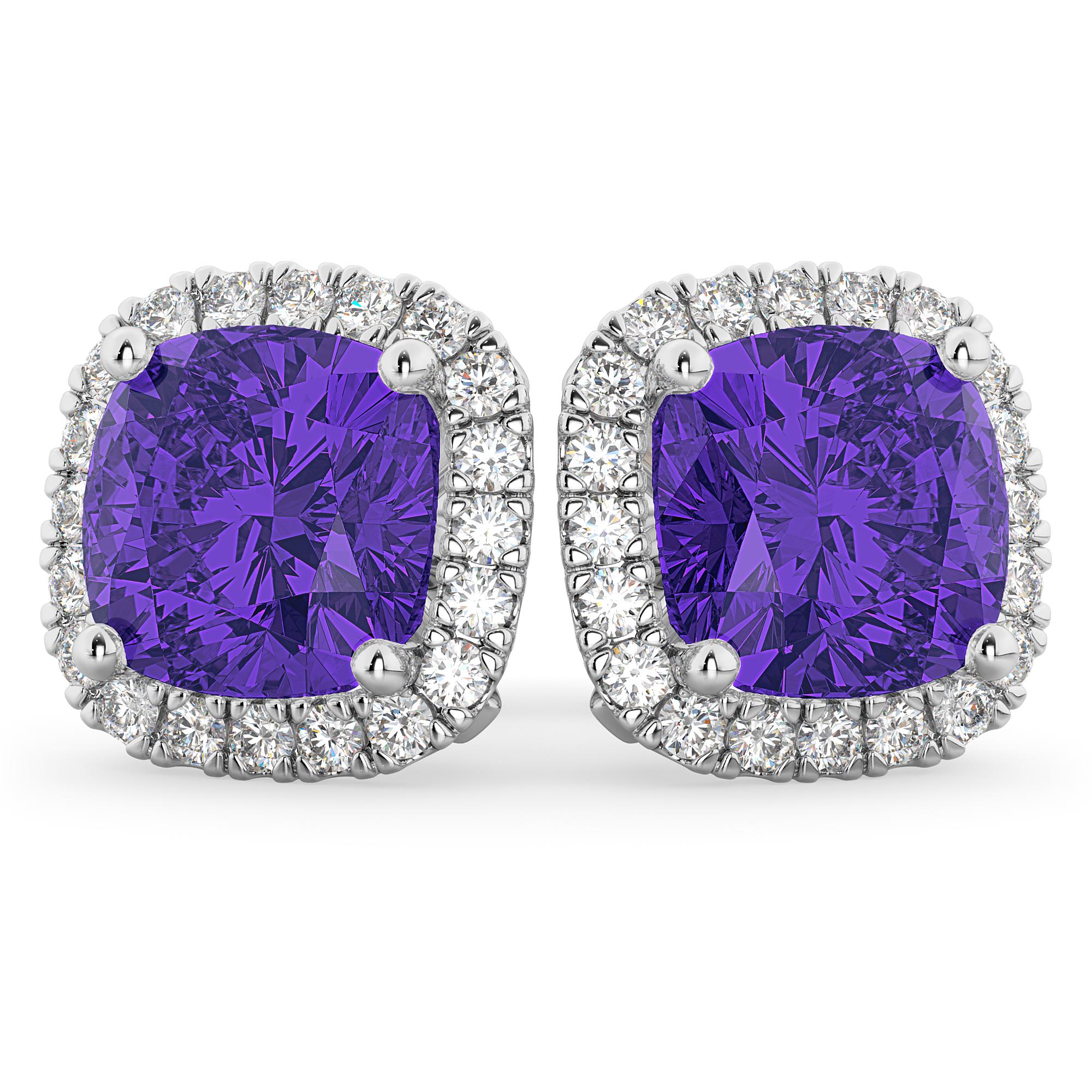 Halo Cushion Tanzanite & Diamond Earrings 14k White Gold (4.04ct)