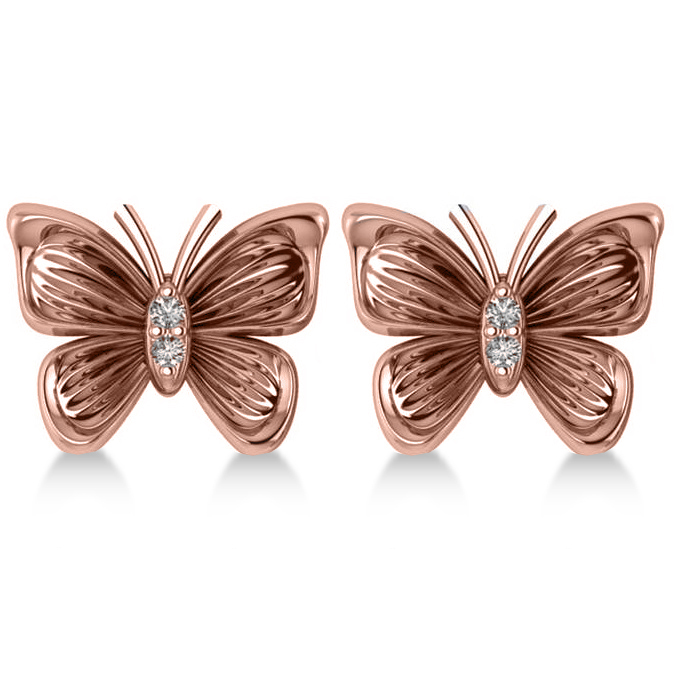 Diamond Butterfly Stud Earrings 14k Rose Gold (0.02ct)