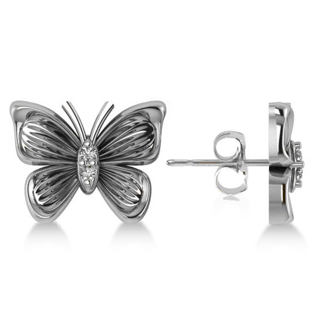 Diamond Butterfly Stud Earrings 14k White Gold (0.02ct)