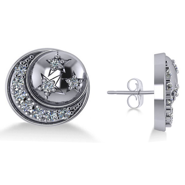 Diamond Crescent Moon and Stars Earrings 14k White Gold (0.28ct)