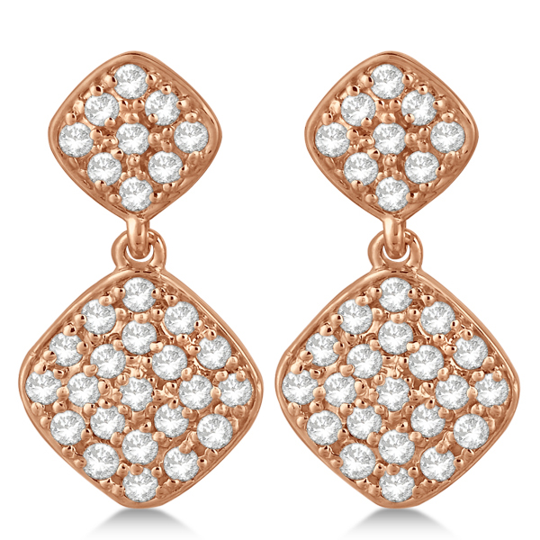 Pave Set Diamond Square Drop Earrings in 14k Rose Gold (1.07 ct)