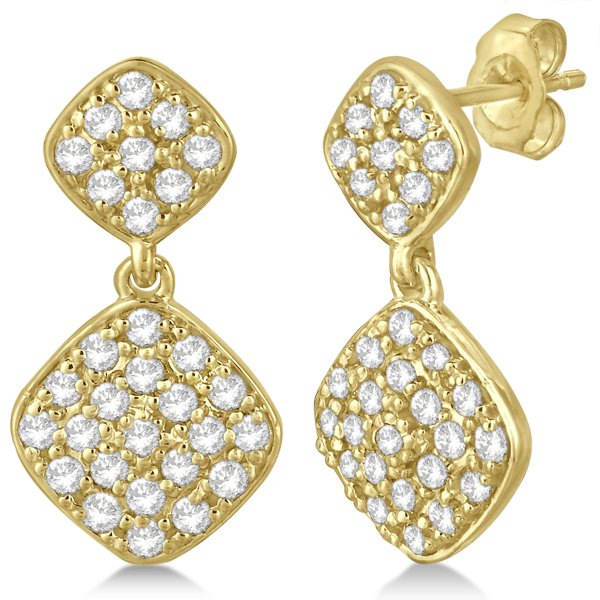 Pave Set Diamond Square Drop Earrings in 14k Yellow Gold (1.07 ct)