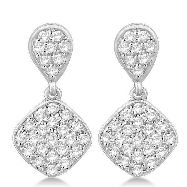 Pave Set Dangling Drop Square Diamond Earrings 14k White Gold 1.04ct